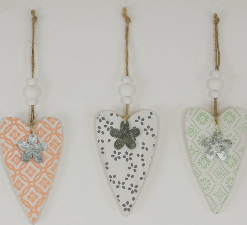 Srdce, dřevěná dekorace na pověšení, mix 3 druhy KLA316 Art