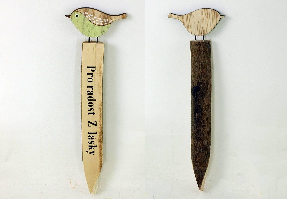 Zápich s ptáčkem, dřevěná dekorace KLA400 Art