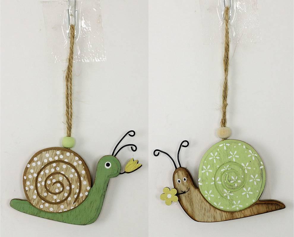 Šnek, dřevěná dekorace na pověšení, mix dvou barev, cena za 1 kus KLA419 Art