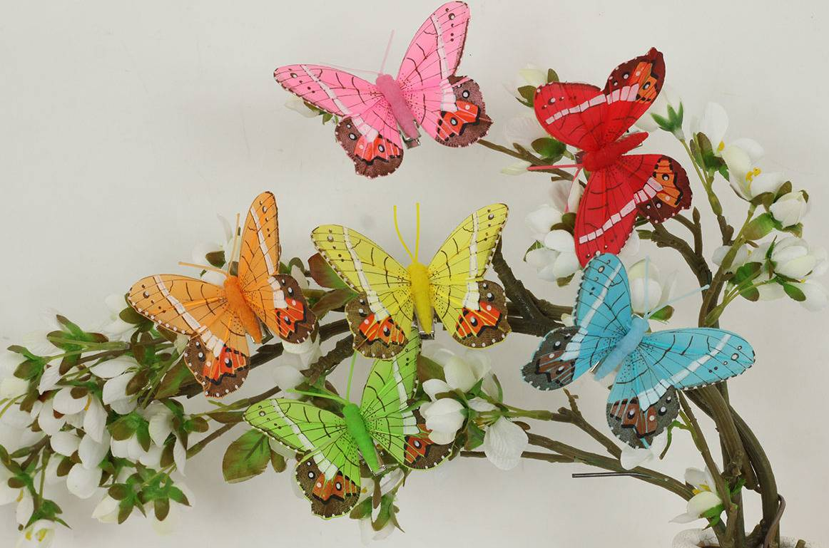 Motýl s klipem sada 12 ks , mix 6 barev