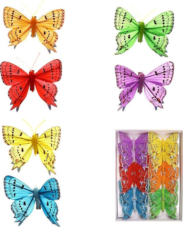 Motýl s klipem  sada 12 ks, mix 6 barev MO756864 Art