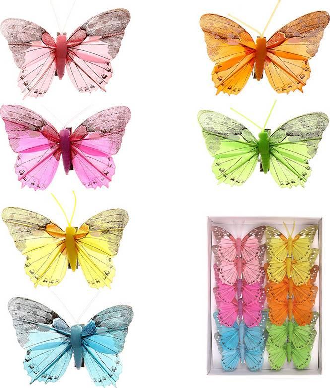 Motýl s klipem  sada 12 ks, mix 6 barev MO756871 Art
