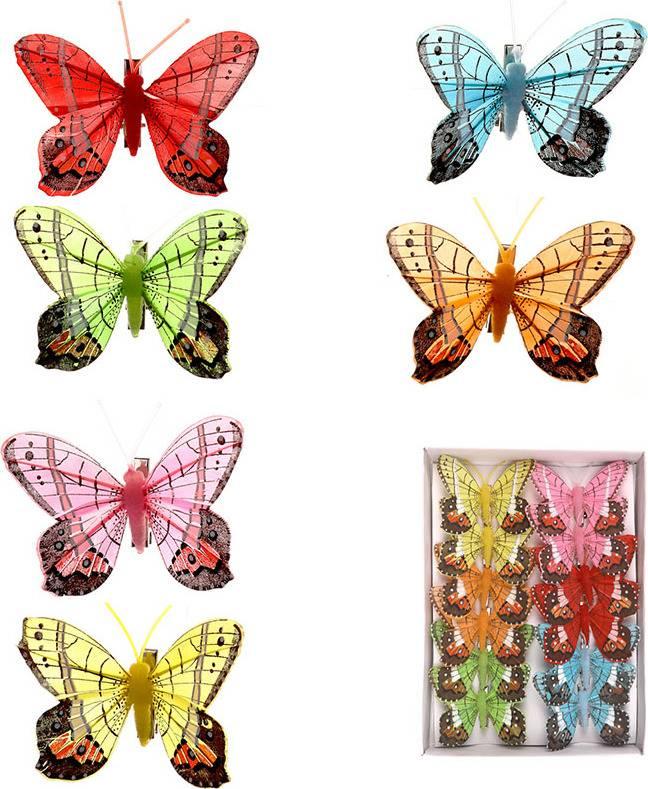 Motýl s klipem, cena za 12ks tj.1 box MIX BAREV