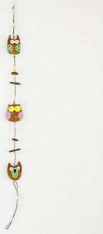 Girlanda, dřevěná dekorace se sovičkami MO809744 Art