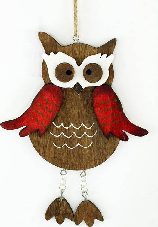 Sovička , dřevěná dekorace na zavěšení MO809799 Art