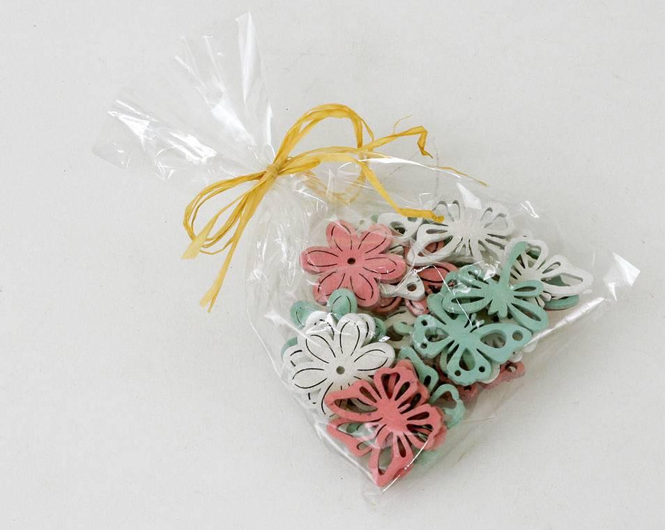 Dřevěné dekorace, motýlek, kytička, a vážka, barva bílá, růžová, zelená ,cena za 24 kusů v sáčku MO809997 Art