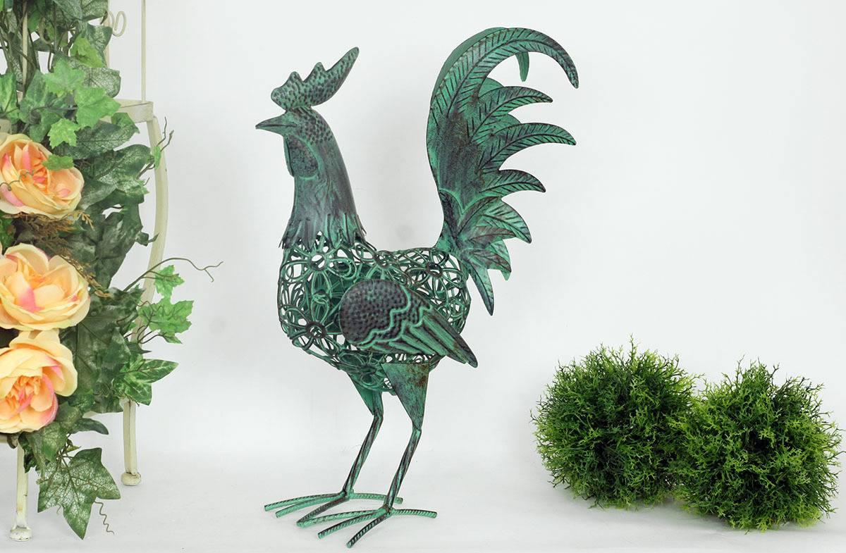 Dekorační kovový kohout, barva zelená MX154521-GRN Art
