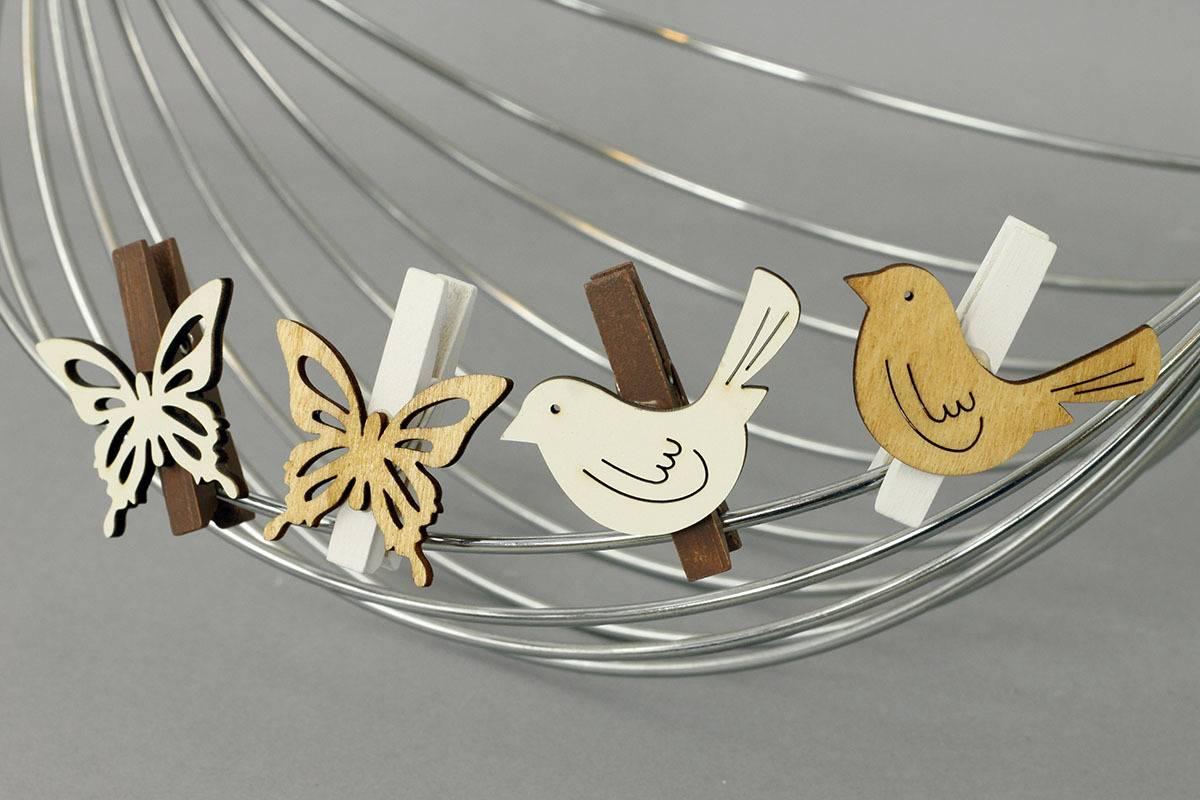 Motýly nebo ptáčci v sáčku 6 kusů, dřevěná dekorace na kolíčku, cena za 1 sáček VEL810306 Art