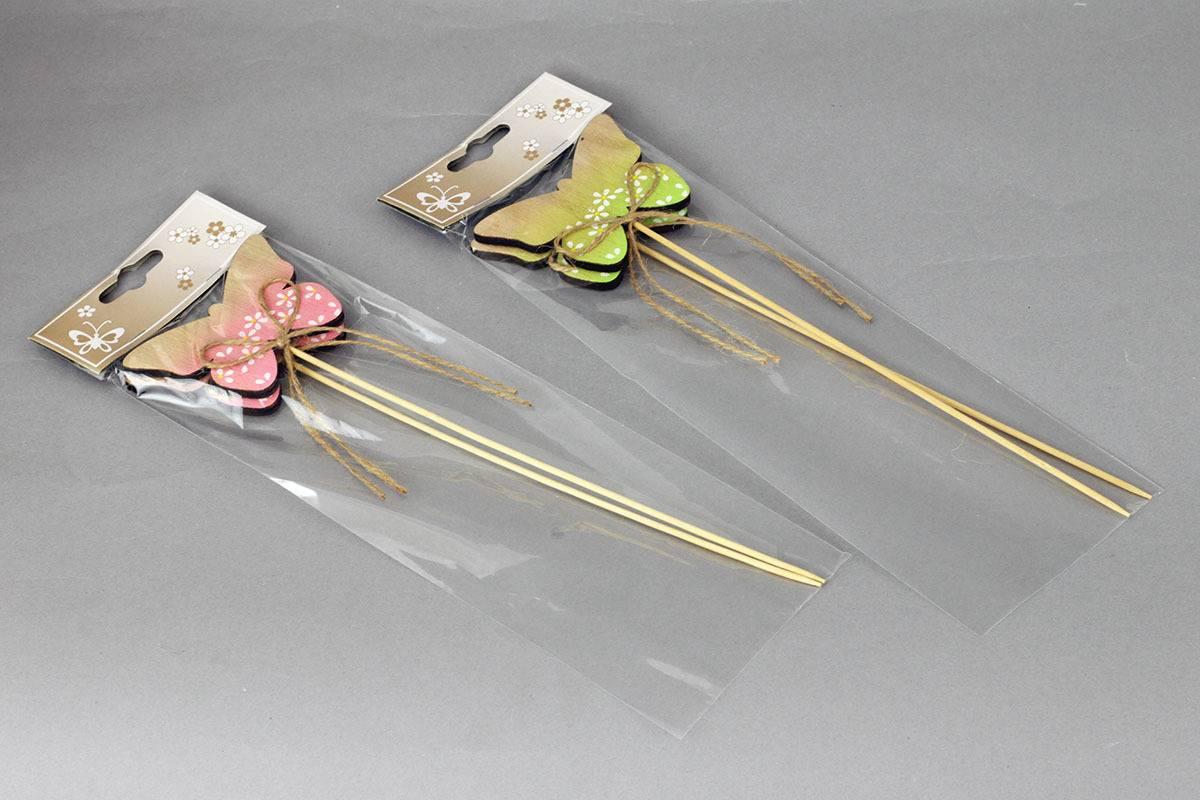 Motýlek, 2 kusy v sáčku, zápich dřevěná dekorace , cena za 1 sáček VEL810399 Art