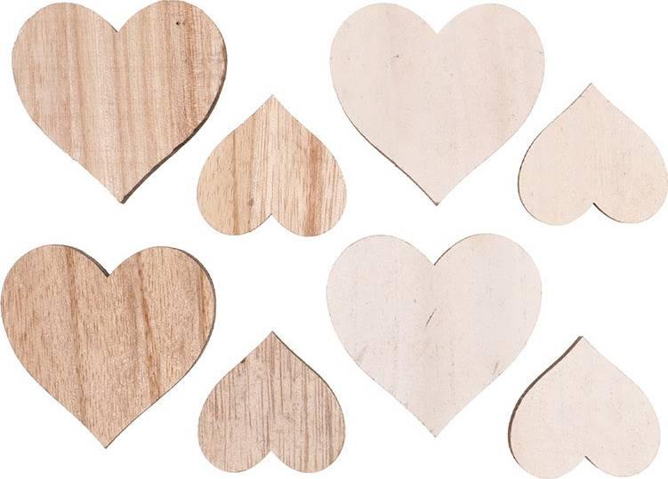 Srdíčko, dřevěná dekorace, 8 kusů v sáčku, barva bílá a přírodní, cena za 1 sáček VEL810535 Art