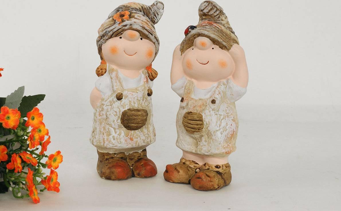 Chlapec nebo děvče, MgO zahradní keramická dekorace, cena za 1 kus WFD5559 Art