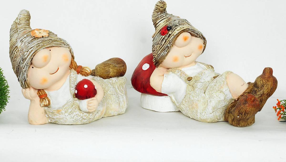 Chlapec nebo děvče, MgO zahradní keramická dekorace, cena za 1 kus WFD5564 Art