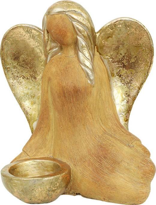 Anděl svícen, barva bronzová, polyresin ADM717773 Art