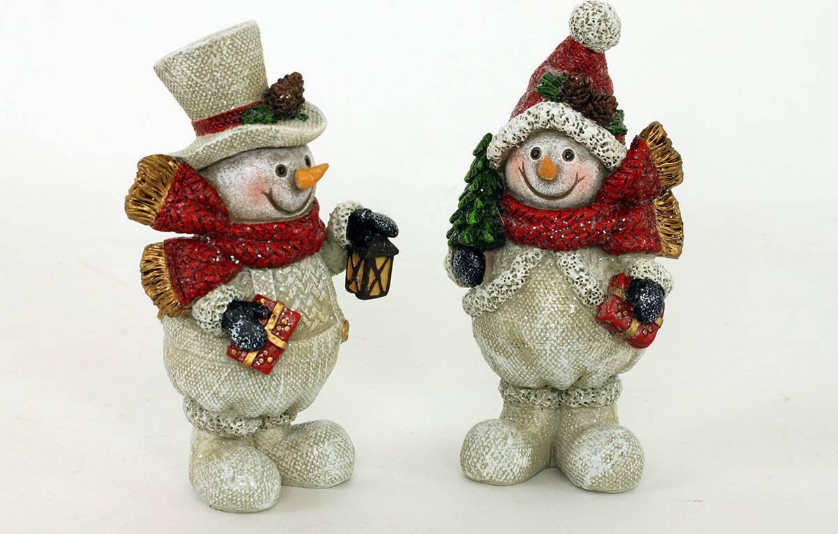 Sněhulák, polyresinová dekorace s bílými glitry, AND131 Art
