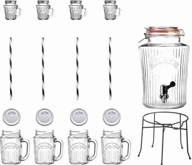 Vintage set nápojový automat s příslušenstvím 22ks fasetový design 0025.885 Kilner
