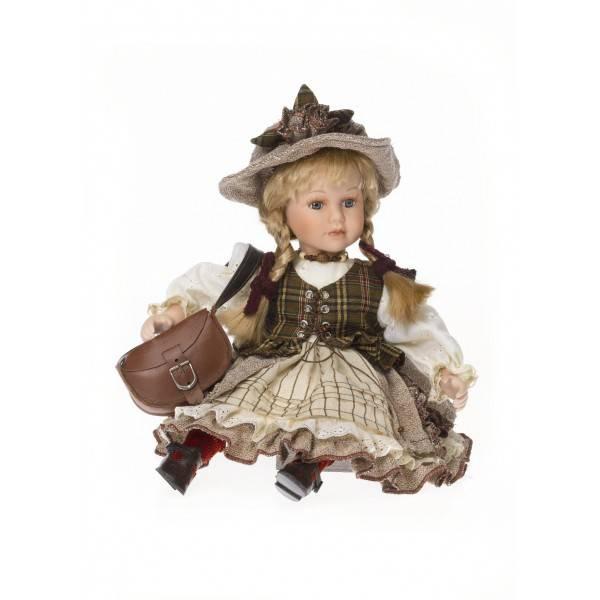 Blonďatá panenka sedící v retro šatech 32cm - IntArt
