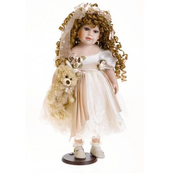 Porcelánová panenka - s hnědými loknami, 55 cm - IntArt