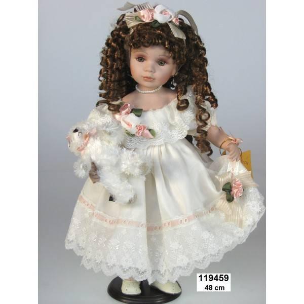 Porcelánová panenka - ve svatebních šatech, 48 cm - IntArt