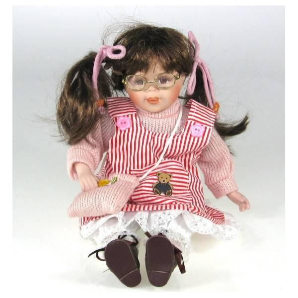 Sedící porcelánová panenka v červeném 30cm - IntArt
