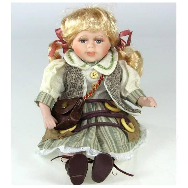 Sedící porcelánová blonďatá panenka - IntArt