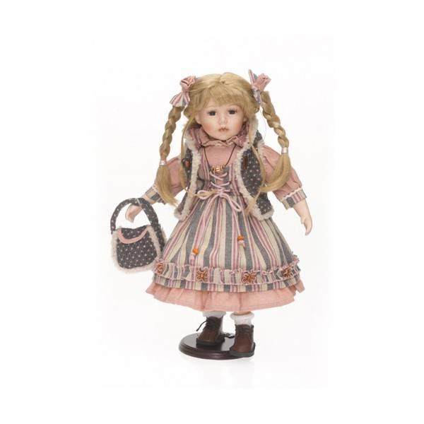 Porcelánová panenka v šedorůžovém - IntArt