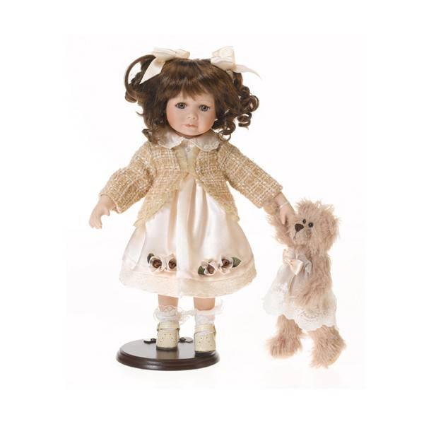 Porcelánová panenka s medvídkem 36cm - IntArt