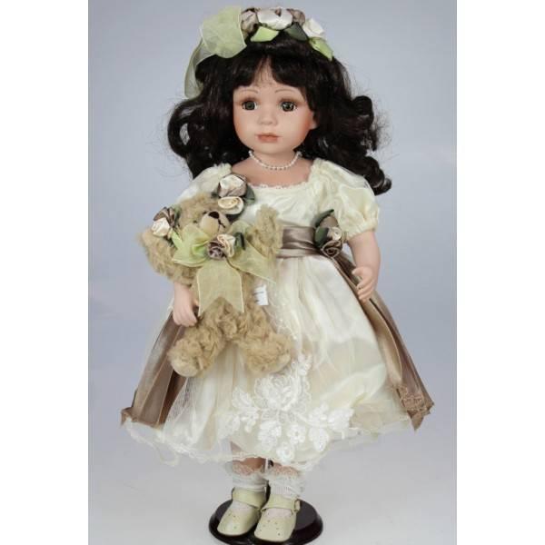 Porcelánová panenka černovláska s medvídkem - IntArt