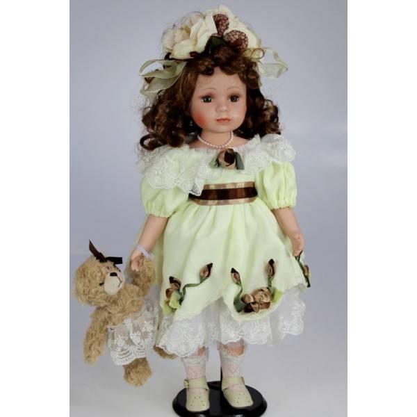Porcelánová panenka v zelených šatech 48cm - IntArt