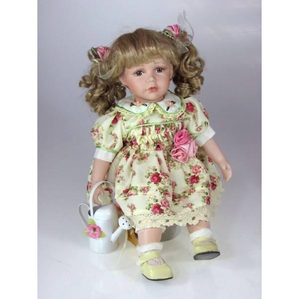Panenka z porcelánu květinové šatičky 35cm - IntArt