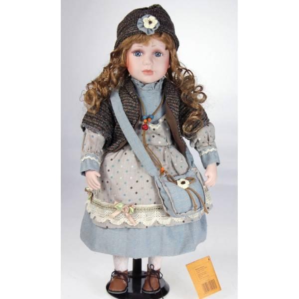 Porcelánová panenka - v modrých šatech, 45 cm - IntArt