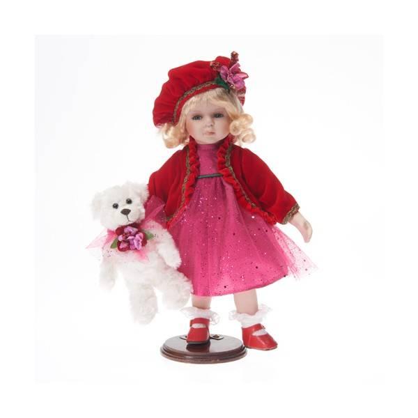 Porcelánová panenka červená karkulka s medvídkem 36cm - IntArt