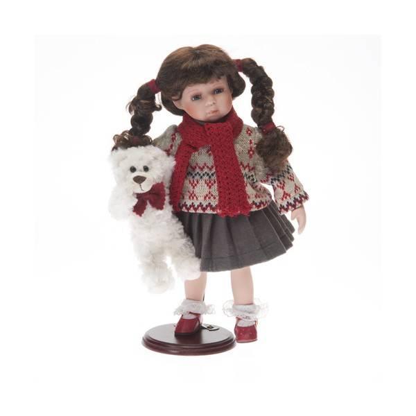 Porcelánová panenka 36cm s medvídkem a šálou - IntArt