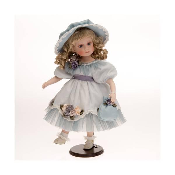 Porcelánová panenka s loknama v modrých šatech 47cm - IntArt