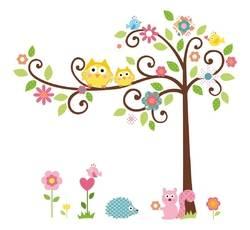 Dětské samolepky - Sovy na stromě - Nalepovací tabule