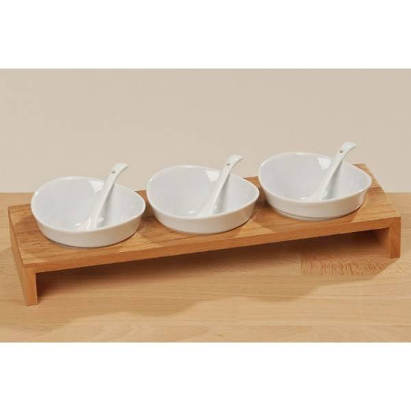 Porcelánové misky s dřevěným podstavcem 33cm - IntArt