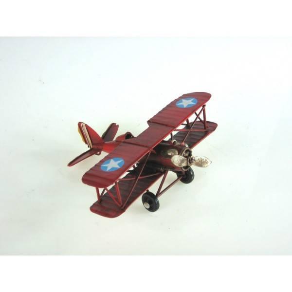 Plechový model letadla dvouplošník 17cm - IntArt