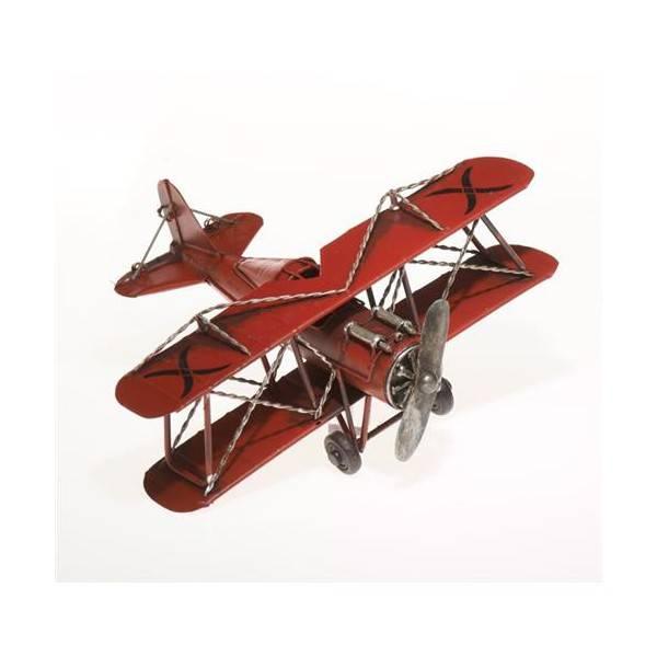 Plechový model letadla dvouplošník červený 22cm - IntArt