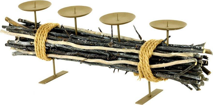Svícen kovový s dekorací z větví, s bodci na svíčku, adventní AN752972 Art