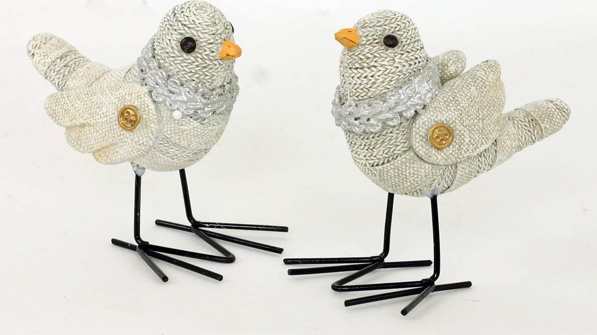 Ptáček, polyresinová dekorace s bílými  glitry AND135 Art