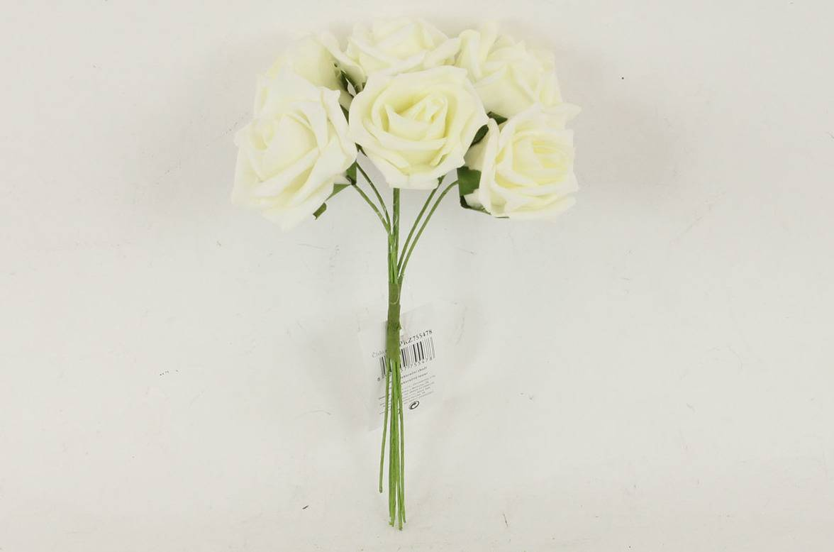 Růžičky pěnové, puget 6ks, barva krémová PRZ755478 Art