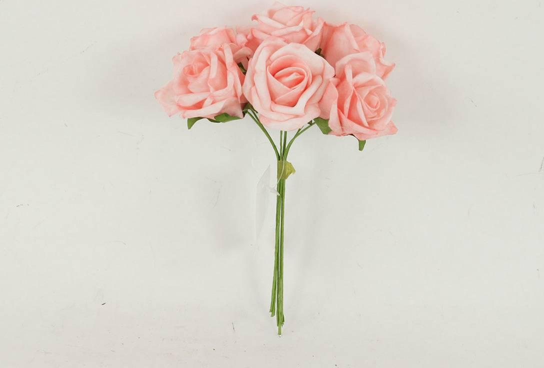 Růžičky pěnové, puget 6ks, barva růžová PRZ755508 Art