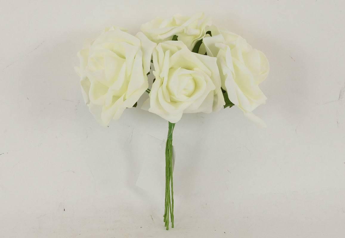 Růžičky pěnové, puget 6ks, barva krémová PRZ755539 Art