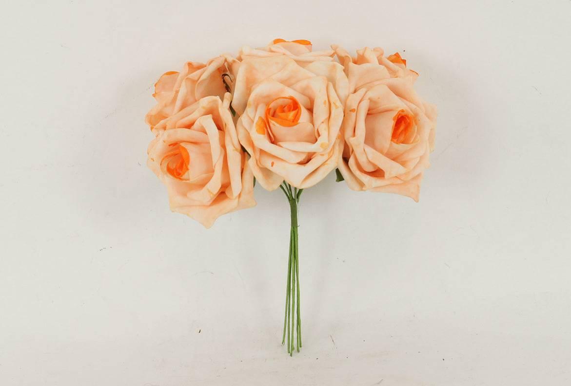 Růžičky pěnové, puget 6ks, barva lososová PRZ755553 Art
