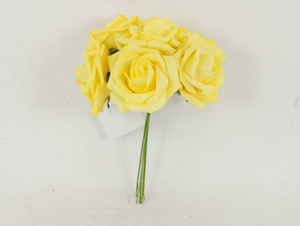 Růžičky pěnové, puget 6ks, barva žlutá PRZ755577 Art