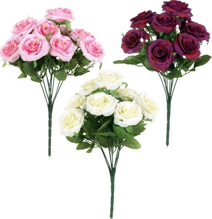 Květina umělá - puget růží, 9 květů SL0004 Art