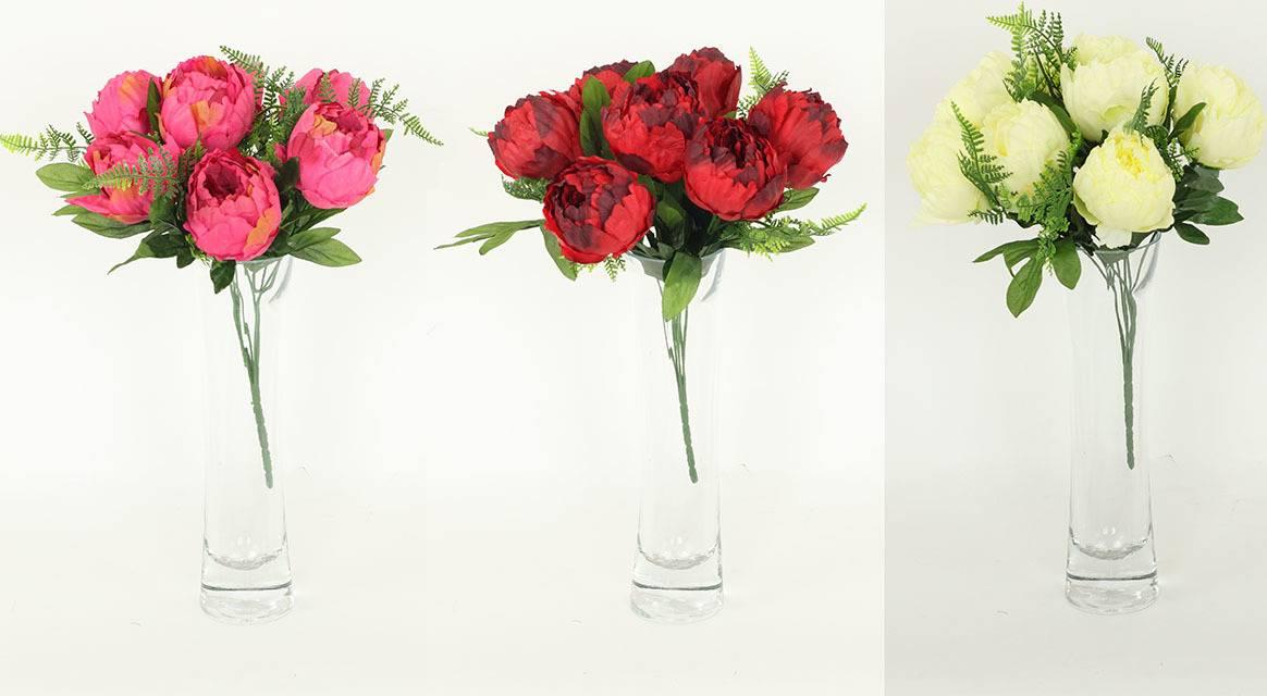 Pivoňky puget, umělá květina, mix barev UK-065 Art