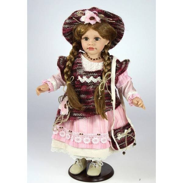Panenka stojící vinylová v růžových šatech 53cm - IntArt
