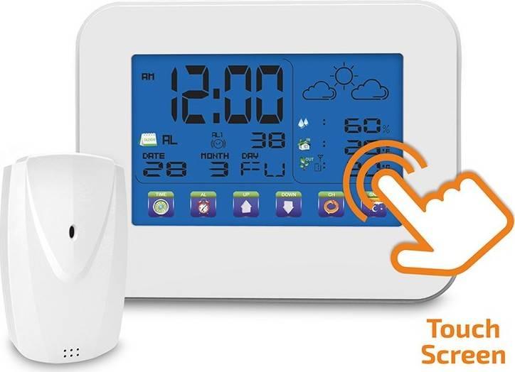 meteostanice, velký dotykový barevný LCD, vnitřní/venkovní teplota, vlhkost, bílá TE84 Solight
