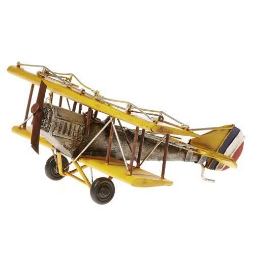 Plechový model letadla dvouplošník žluté 22cm - IntArt