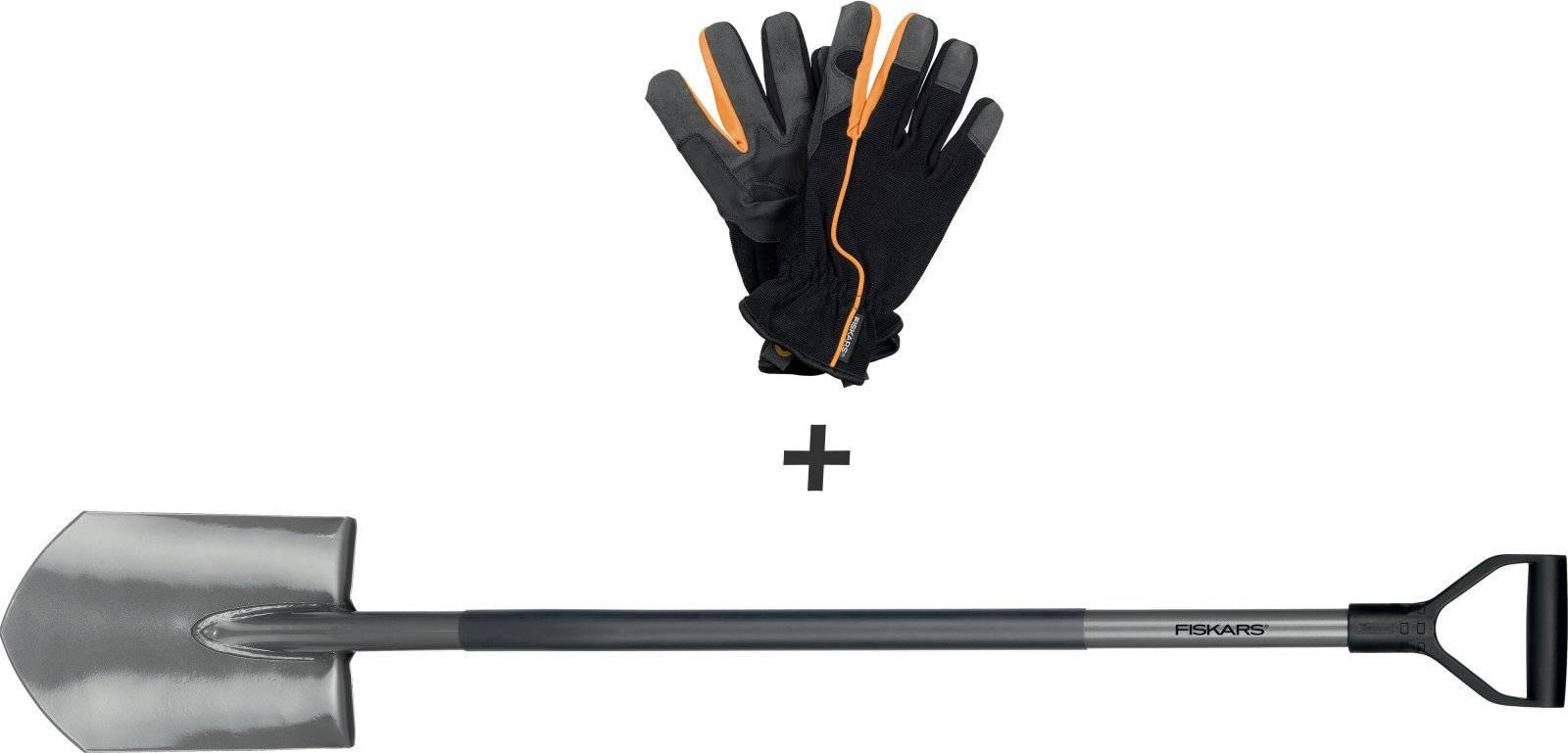 Sada rýč špičatý + pracovní rukavice 1014769 Fiskars